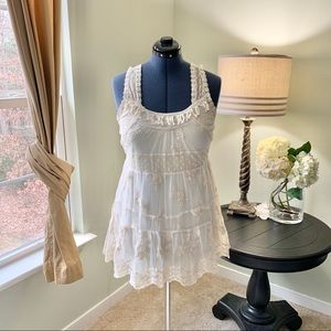 Forever 21 Cream Lace Tunic Size L